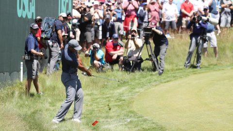 Woods, who won the last of his 14 majors 10 years ago, was under the cosh from the start, amassing a triple-bogey seven at the first and adding a bogey at the second.