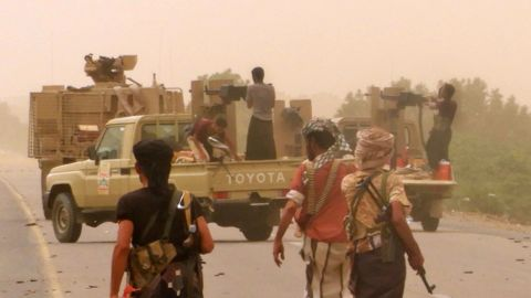 Pro-government forces gather Friday at the south of Hodeida's airport.