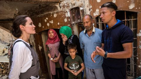 UNHCR Special Envoy Angelina Jolie meets on June 16, 2018, with a family in Mosul, Iraq.