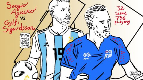 """Argentina and Iceland faced off in the Group D opener on June 16 -- the so-called """"Group of Death."""" Both Sergio """"Kun"""" Aguero of Argentina and Iceland's Gylfi Sigurdsson suffered knee injuries prior to the World Cup."""