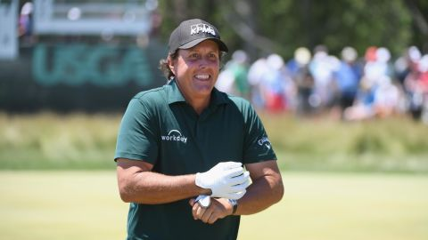 """<strong>Day three: </strong>Birthday boy Phil Mickelson (48) sparked controversy as he ran after a still moving putt and hit it back towards the hole. Mickelson later said he was fed up with going back and forth and """"you take your two-shot penalty and move on."""" He denied he was being disrespectful."""