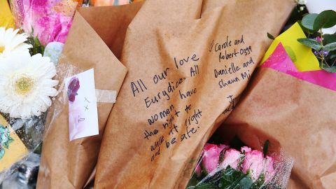 A message left on flowers laid at the site.