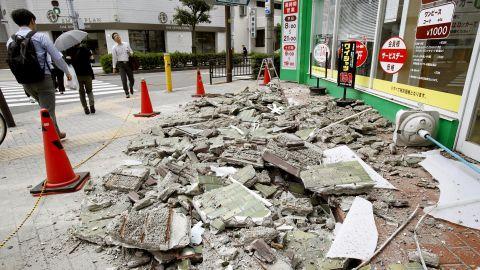 Debris from the earthquake in Osaka.