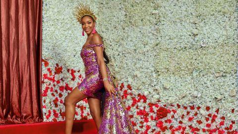 Supermodel and TV personality Idia Aisien wearing Nigerian designer Toju Foyeh.