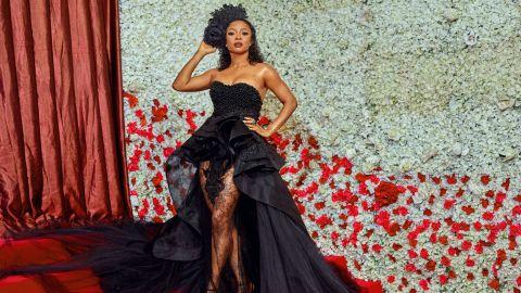 Celebrity Toke Makinwa in Nigerian designer Orapeleng Modutle.
