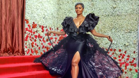 Nigerian actress Osas Ighodaro Ajibade wearing the Africana label.