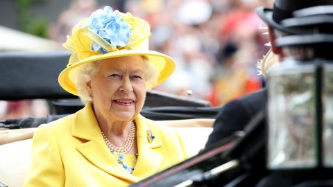 Queen Elizabeth II arrives by carriage to Royal Ascot Day 1 at Ascot Racecourse.
