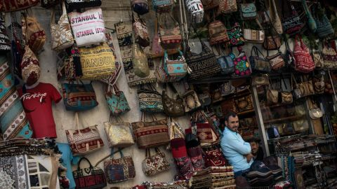 A shop owner waiting for customers at Istanbul's Grand Bazaar.
