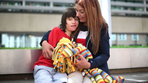Charlotte Caldwell and her son Billy outside the Home Office in London ahead of a meeting with Minister of State Nick Hurd, after having a supply of cannabis oil used to treat Billy's severe epilepsy confiscated on their return from Canada. Yui Mok/PA Images/Getty Images