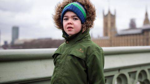 Six-year-old Alfie Dingley poses before meeting with UK lawmakers in Parliament on March 20.