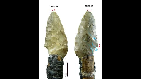 A new study of his weapons showed that he was able to retouch and resharpen some of them before he died. But it wasn't enough to save him. The Iceman was shot in the shoulder with an arrow. The arrowhead is still lodged in his back and pierced a vital artery that resulted in his death shortly afterward.