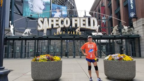CNN Hero Richard Nares at the start of his 1,700 mile charity run in Seattle, WA on June 4.