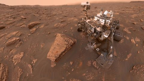 A self-portrait taken by NASA's Curiosity rover taken on Sol 2082 (June 15, 2018). A Martian dust storm has reduced sunlight and visibility at the rover's location in Gale Crater. Image Credit: NASA/JPL-Caltech