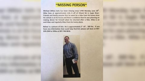 Anchorage, Alaska, police tweeted this notice when hiker Michael Soltis went missing. They say he was killed by a brown bear.
