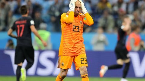 Caballero looks dejected after his mistake leads to a Croatia goal.