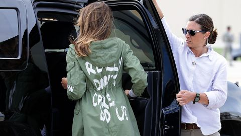 Melania Trump's press team said there was no hidden message behind the jacket, but President Trump later tweeted the words were aimed at the media.