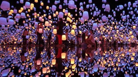 """<strong>Tokyo:</strong> A new museum specializing in digital art opened in Tokyo in June. TeamLab's installation """"Forest of Resonating Lamps"""" is pictured in the new venue, called MORI Building DIGITAL ART MUSEUM teamLab Borderless."""