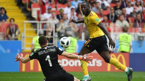 Belgium's Romelu Lukaku scores against Tunisia on June 23. He had a pair of goals in the match, which Belgium won 5-2.