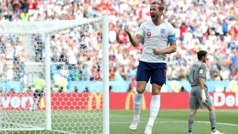 English striker Harry Kane celebrates after scoring a penalty in the 6-1 rout of Panama on June 24. Kane finished with a hat trick.
