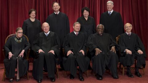 Justices of the US Supreme Court sit for their official group photo at the Supreme Court in Washington, DC, on June 1, 2017.  Seated (L-R): Associate Justices Ruth Bader Ginsburg and Anthony M. Kennedy, Chief Justice of the US John G. Roberts, Associate Justices Clarence Thomas and Stephen Breyer. Standing (L-R): Associate Justices Elena Kagan, Samuel Alito Jr., Sonia Sotomayor and Neil Gorsuch. / AFP PHOTO / SAUL LOEB        (Photo credit should read SAUL LOEB/AFP/Getty Images)