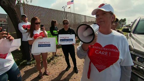 Protesters gathered Monday to denounce the separation of migrant children and their parents.