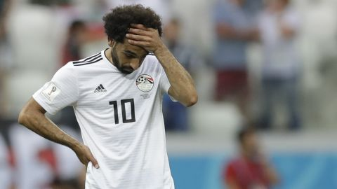 Egyptian star Mohamed Salah reacts after Saudi Arabia's winning goal in second-half stoppage time on June 25. Egypt lost all three of its matches at this World Cup.