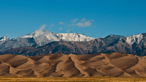 The Sangre De Cristo Mountains frame Great Sand Dunes National Park and Preserve in Colorado.