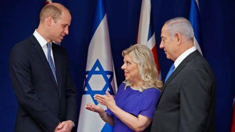 Prince William met Israeli Prime Minister Benjamin Netanyahu and his wife Sara on Tuesday.