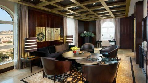 The lounge area of the hotel's Jerusalem suite.