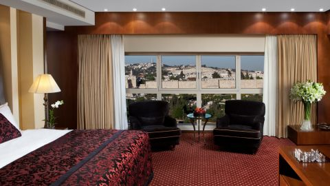 The presidential suite offers views of the Old City.