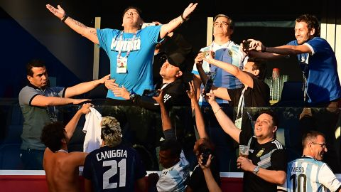 Argentina legend Diego Maradona was in the crowd once again, drawing attention from fans just as he did when he was a player.