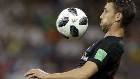 Croatia's Josip Pivaric prepares to chest the ball during the team's 1-0 win against Iceland on June 26. Croatia improved its record to 3-0 in the tournament.