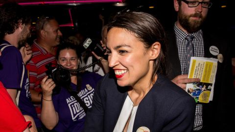 Progressive challenger Alexandria Ocasio-Cortez celebrartes with supporters at a victory party in the Bronx after upsetting incumbent Democratic Representative Joseph Crowly on June 26, 2018 in New York City.  Ocasio-Cortez upset Rep. Joseph Crowley in New York's 14th Congressional District, which includes parts of the Bronx and Queens. (Photo by Scott Heins/Getty Images)