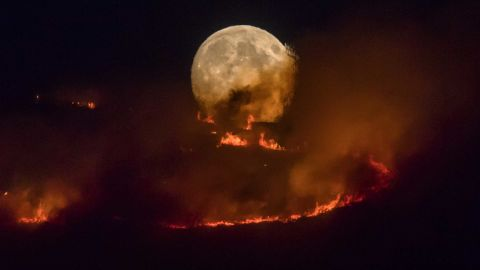 A large wildfire sweeps across moorland in northern England on June 26.