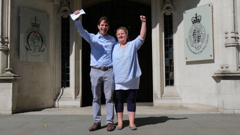 Charles Keidan and Rebecca Steinfeld celebrate after the ruling.