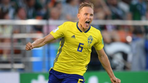 Ludwig Augustinsson celebrates after scoring Sweden's first goal in its 3-0 victory over Mexico on June 27. The result meant that Sweden would top Group F and Mexico would finish in second.