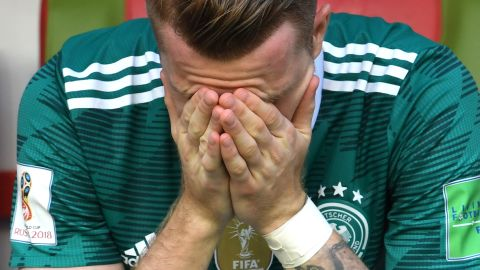 Germany's Marco Reus reacts after his team lost to South Korea and was knocked out of the World Cup on June 27. The defending champions lost 2-0 and finished at the bottom of Group F.