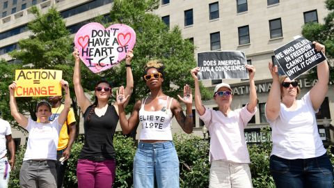 Protesters participate in a rally on immigration at Freedom Plaza in Washington, Thursday, June 28, 2018. (AP Photo/Susan Walsh)