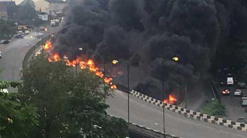 Scene of the explosion in Lagos, Nigeria.