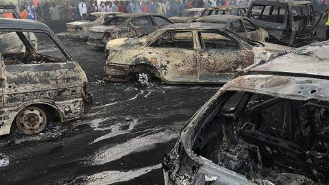 Some burnt cars at the scene of the oil tanker explosion on the Lagos-Ibadan bridge, Lagos State, Nigeria on June 28, 2018.