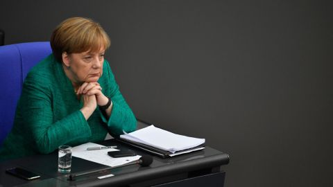 Merkel attends a Bundestag session in June 2018. She pressed lawmakers <a href=