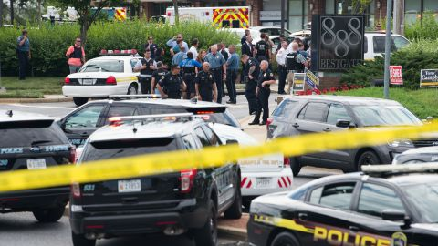 Authorities respond to an active shooter in Annapolis, Maryland at local newspaper The Capital Gazette