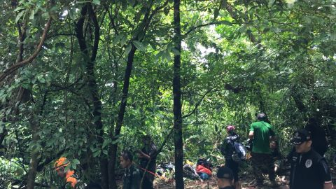 Trekkers are having to navigate thick jungle and difficult underfoot conditions in the trek to the chimney site.