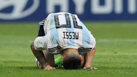 Argentina's Lionel Messi reacts after his team was knocked out of the World Cup by France on June 30. Messi had two assists in the 4-3 loss.