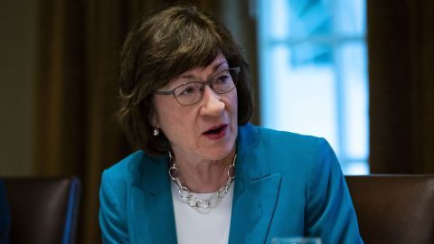 """WASHINGTON, DC - JUNE 26:  U.S. Sen. Susan Collins (R-ME) attends a lunch meeting for Republican lawmakers in the Cabinet Room at the White House June 26, 2018 in Washington, DC. The president called the Supreme Court's 5-4 ruling in favor of the administration's travel ban a """"tremendous victory,"""" according to published reports.  (Photo by Al Drago-Pool/Getty Images)"""