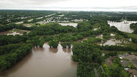 Andrew Batt used a drone to take this photo of the flooding in Johnston, Iowa, which is about 10 miles northwest of Des Moines.