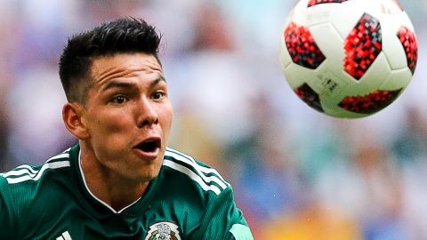 Mexico's Hirving Lozano watches the ball during the Brazil match. This is the seventh straight time that Mexico has been eliminated in the World Cup's round of 16.