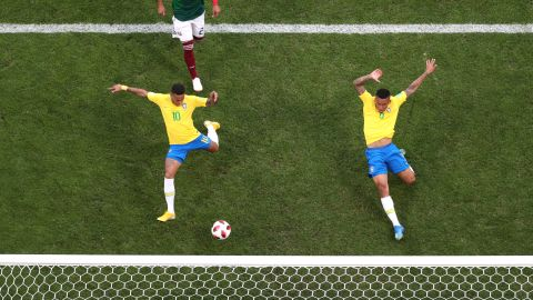 Neymar stretches for a cross to score Brazil's first goal in the 51st minute.