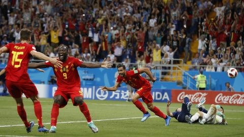 Belgium players celebrate after Nacer Chadli, third from right, scored with just seconds remaining to win the round-of-16 match against Japan on July 2.