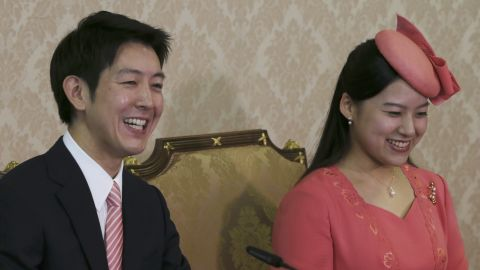 Japanese Princess Ayako, the third daughter of the late Prince Takamado, and her fiancé Kei Moriya attend a press conference to announce their engagement at the Imperial Household Agency in Tokyo on Monday.